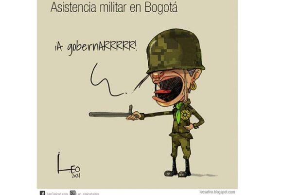 Caricatura: Asistencia militar en Bogotá