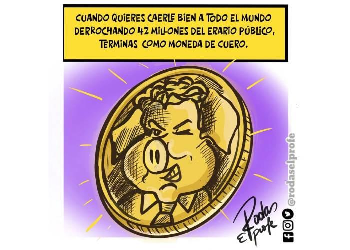 Caricatura: Como moneda de cuero