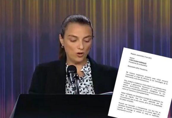 Karen Abudinen renuncia en medio del partido de Colombia