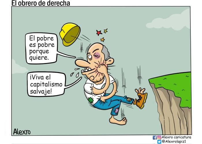 Caricatura: El obrero de derecha